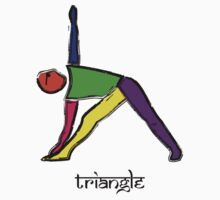 Painting of triangle yoga pose with Sanskrit text. Kids Clothes