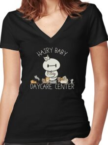 Hairy Baby Daycare Center Women's Fitted V-Neck T-Shirt