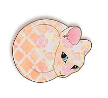 Introvert Kitten - patterned cat illustration Photographic Print