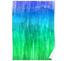 Turquoise, Lime & Indigo Watercolor Abstract Poster