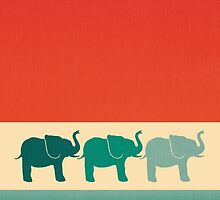 Three Elephants - Burnt orange, cream & teal by Perrin Le Feuvre
