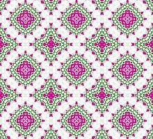 White, Pink and Green Abstract Design Pattern by Mercury McCutcheon