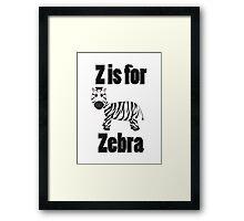 Z Is For Zebra Framed Print