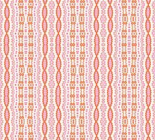 Pink, Orange and White Abstract Design Pattern by Mercury McCutcheon