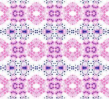 Pink, White and Blue Abstract Design Pattern by Mercury McCutcheon