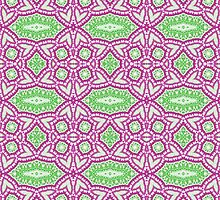 Green and Hot Pink Abstract Design Pattern by Mercury McCutcheon