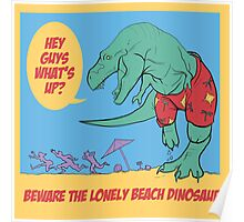 Lonely Beach Dinosaur Poster