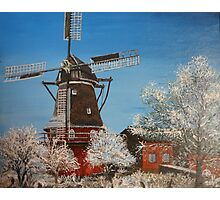 Windmill In Winter Photographic Print