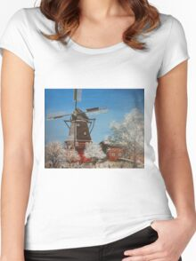 Windmill In Winter Women's Fitted Scoop T-Shirt