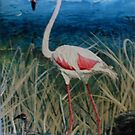 Flamingo With Offspring Wading Through Rivergrass by Kashmere1646