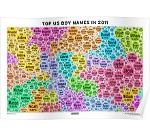 Top US Boy Names in 2011 - White Poster