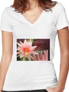 Here's Life To Fleck Zephyr Pink Women's Fitted V-Neck T-Shirt