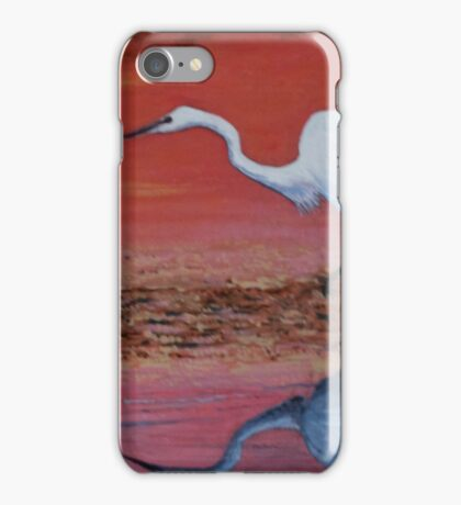 White Egret Wading In The Sunset iPhone Case/Skin