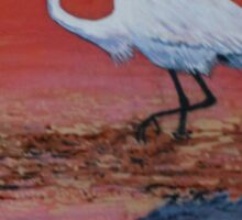 White Egret Wading In The Sunset Sticker