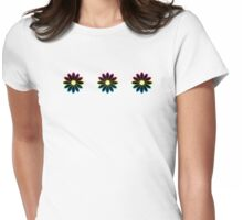 Simple Black & White Daisy Pattern  Womens Fitted T-Shirt