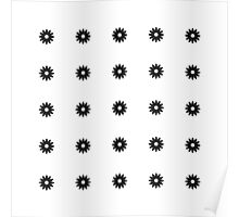 Simple Black & White Daisy Pattern  Poster