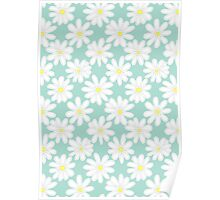 Bright Happy Daisies on Mint Poster