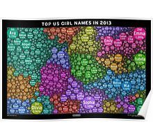 Top US Girl Names in 2013 - Black Poster
