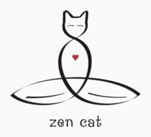 "Stylized Cat Meditator with ""Zen Cat"" in fancy text Kids Tee"