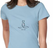 "Stylized Cat Meditator with ""Zen Cat"" in fancy text Womens Fitted T-Shirt"