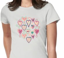 Girly Heart Doodle  Womens Fitted T-Shirt