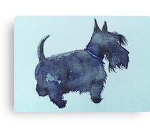 Scottie watercolour (blue) Canvas Print