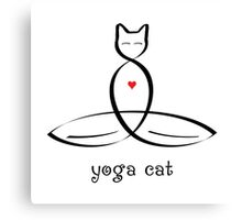 "Stylized Cat Meditator with ""Yoga Cat"" in fancy text Canvas Print"