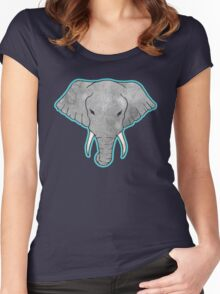 Elephant Pattern on Blue Women's Fitted Scoop T-Shirt