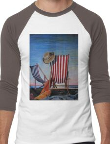 Folding Chairs Watching, Contemplating The Sunset Men's Baseball ¾ T-Shirt