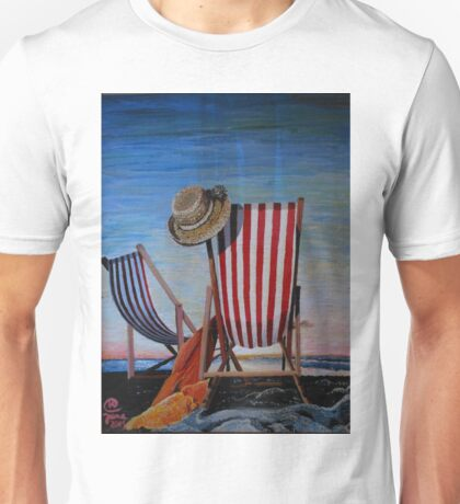 Folding Chairs Watching, Contemplating The Sunset Unisex T-Shirt