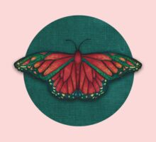 Butterfly in Jewel Colors on Teal Linen Baby Tee