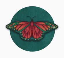Butterfly in Jewel Colors on Teal Linen One Piece - Short Sleeve