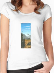 Camping in blue and gold Women's Fitted Scoop T-Shirt