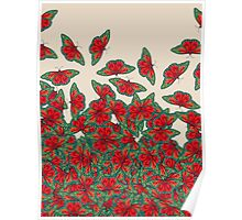 Ruby & Emerald Butterfly Dance - red, teal & green butterflies on cream Poster