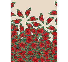 Ruby & Emerald Butterfly Dance - red, teal & green butterflies on cream Photographic Print