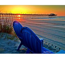 Beach Blue Chairs Pier Sunrise Photographic Print