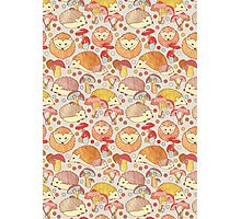 Woodland Hedgehogs - a pattern in soft neutrals  Photographic Print