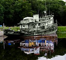 old_tug_reflection by Ted Petrovits