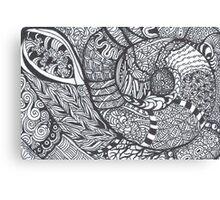 Bold Black and White Jentangle Shell Canvas Print