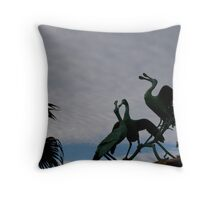 statue of rosey spoonbills Throw Pillow