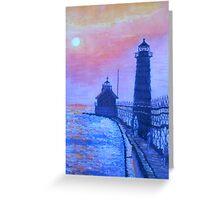 Lighthouse at Dusk Greeting Card