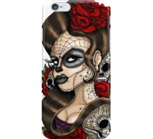 Day of the dead sugar skull mexican tattoo girl iPhone Case/Skin