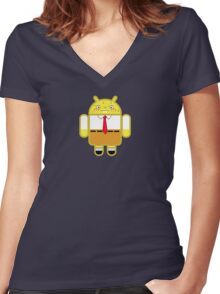Droidarmy: Spongedroid Squarepants Women's Fitted V-Neck T-Shirt