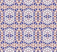 Orange, Blue and White Abstract Design Pattern by Mercury McCutcheon