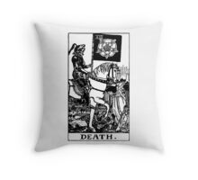 Black and White Death Tarot Card  Throw Pillow