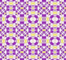 Yellow, Purple and White Abstract Design Pattern by Mercury McCutcheon