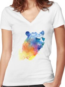 Sunny Bear Women's Fitted V-Neck T-Shirt
