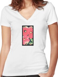 Retro screen floral  Women's Fitted V-Neck T-Shirt