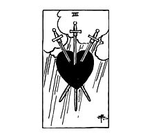 Black and White Three of Hearts Tarot Card  Photographic Print
