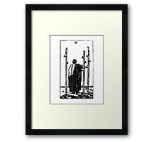 Black and White Three of Wands Tarot Card  Framed Print